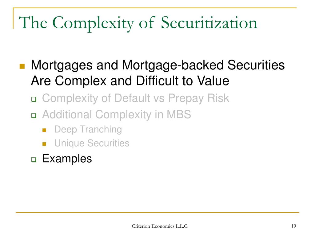 The Complexity of Securitization