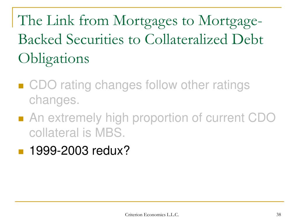 The Link from Mortgages to Mortgage-Backed Securities to Collateralized Debt Obligations