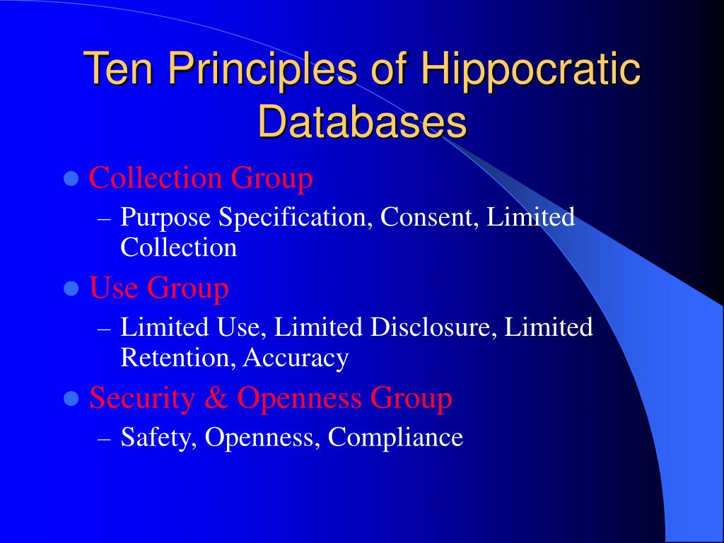Ten Principles of Hippocratic Databases