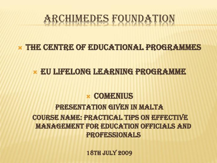 Archimedes foundation