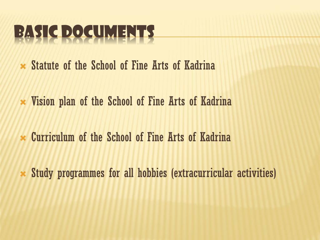Statute of the School of Fine Arts of Kadrina