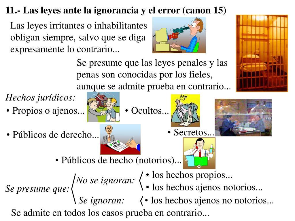 11.- Las leyes ante la ignorancia y el error (canon 15)