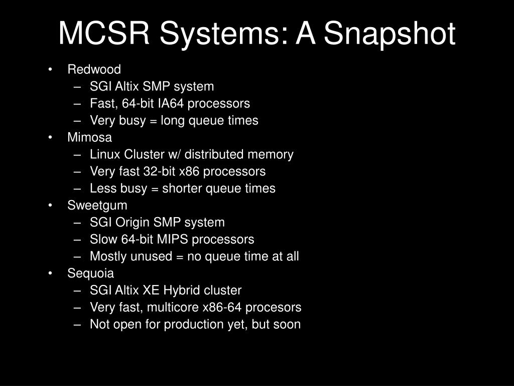 MCSR Systems: A Snapshot