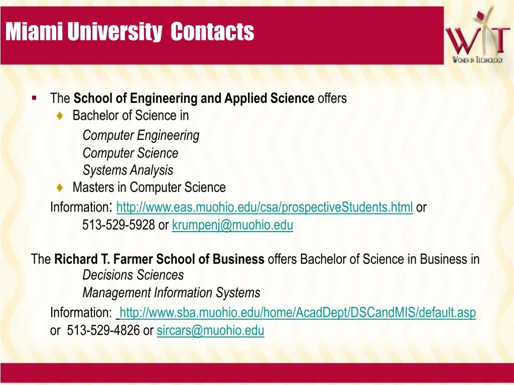 Miami University  Contacts