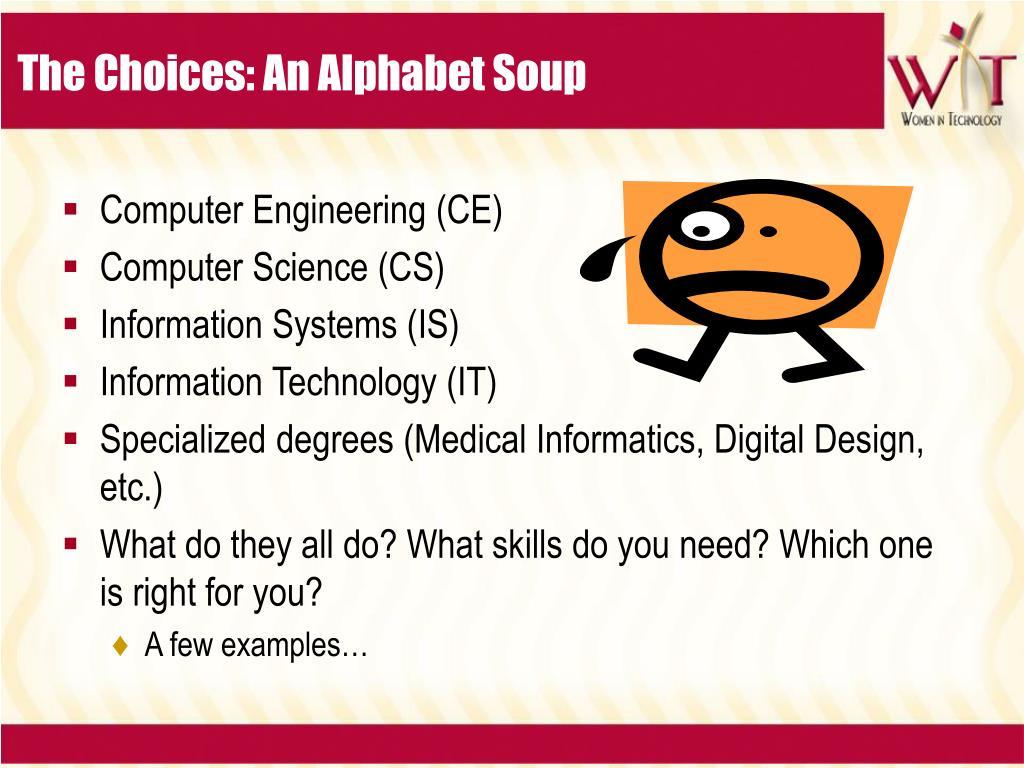The Choices: An Alphabet Soup