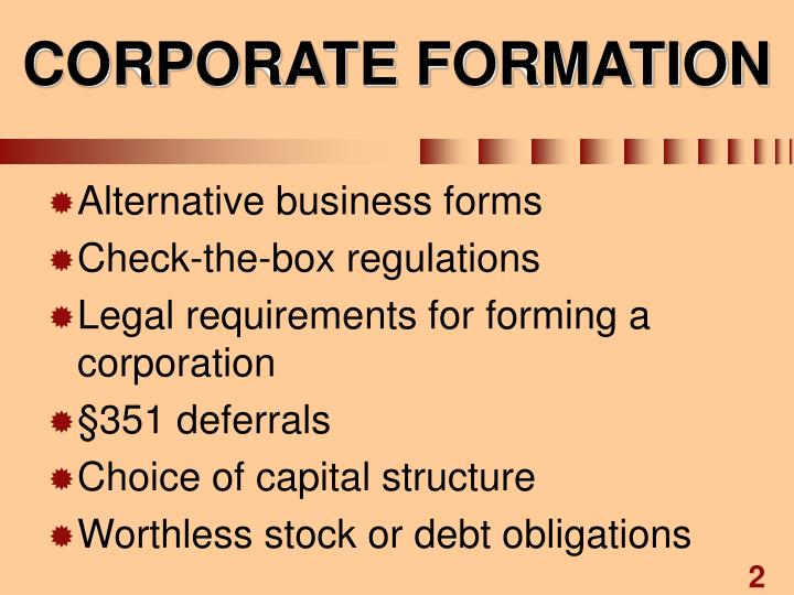 Corporate formation