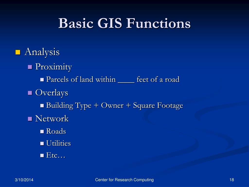 Basic GIS Functions
