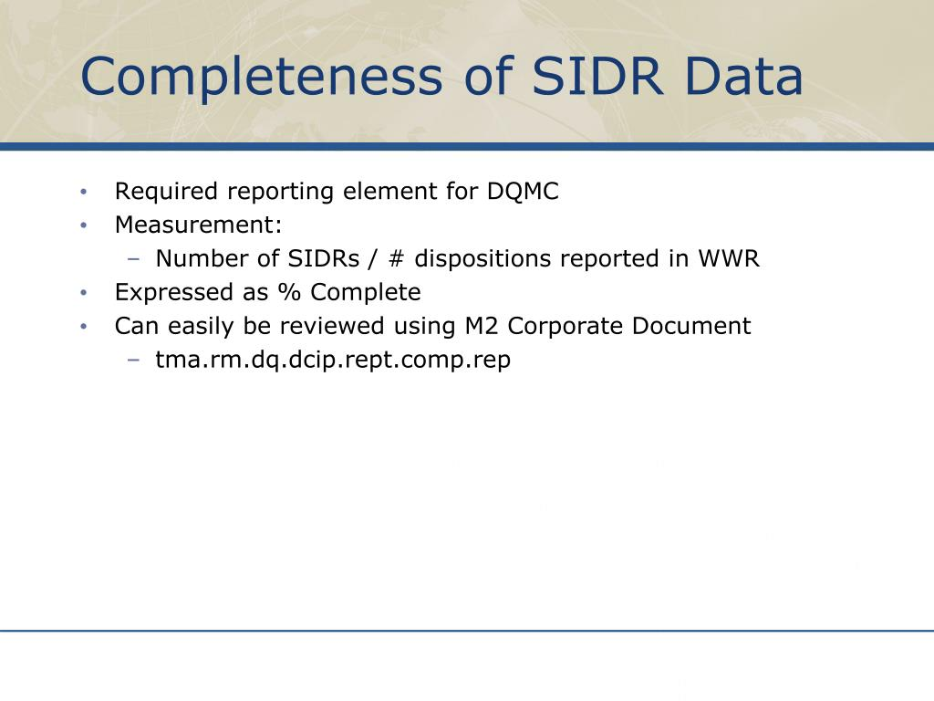 Completeness of SIDR Data
