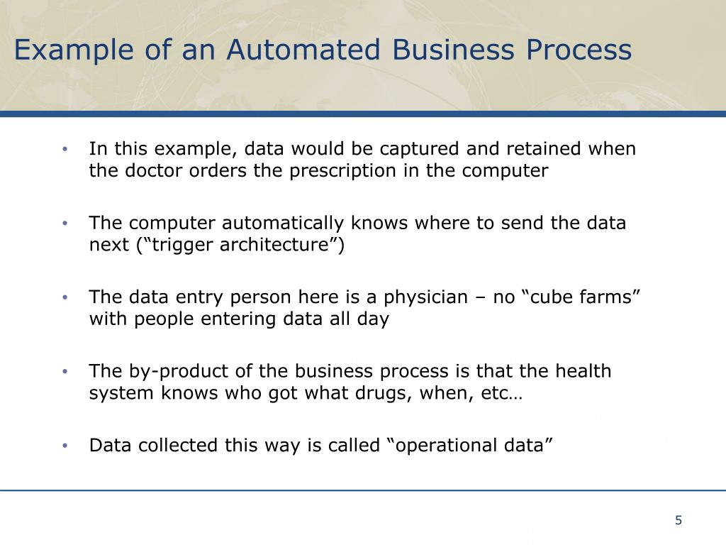 In this example, data would be captured and retained when the doctor orders the prescription in the computer