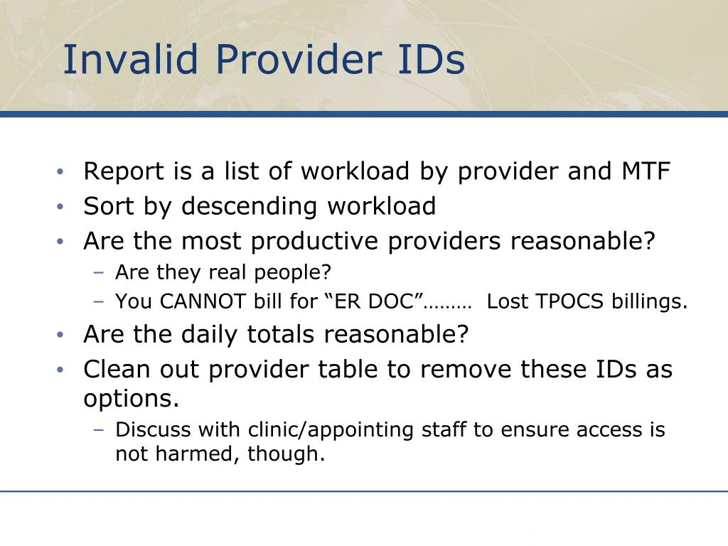 Invalid Provider IDs
