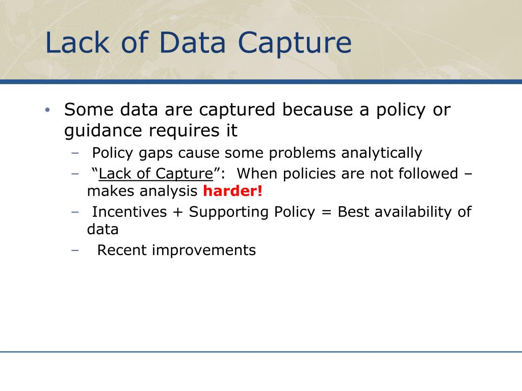 Lack of Data Capture