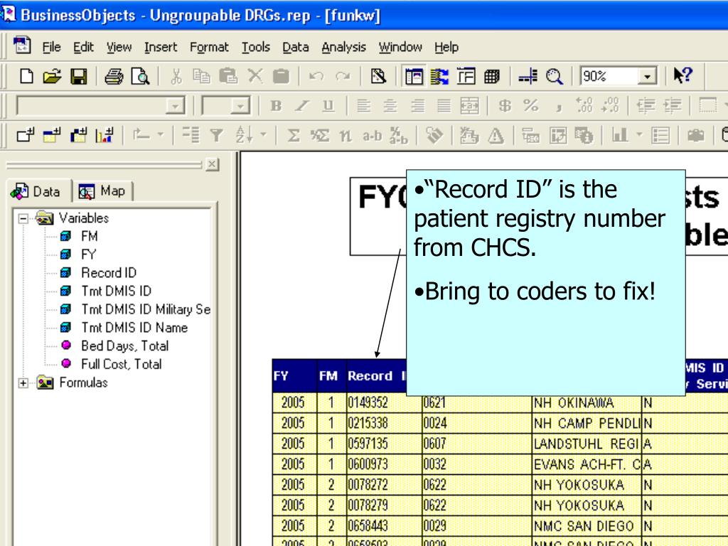 """""""Record ID"""" is the patient registry number from CHCS."""