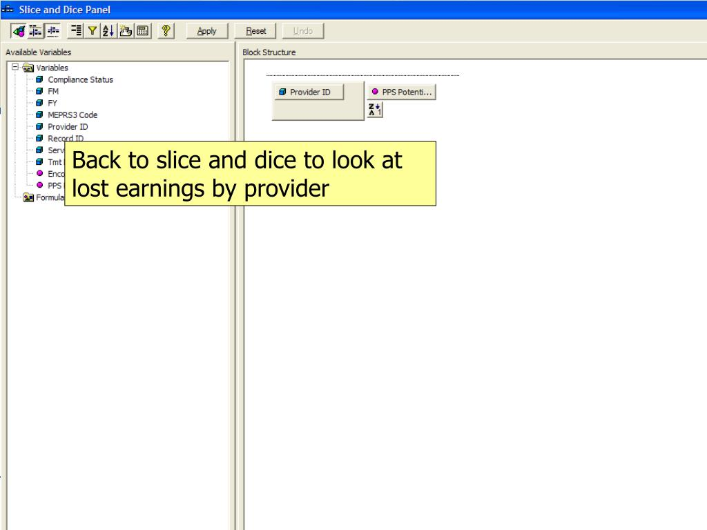 Back to slice and dice to look at lost earnings by provider