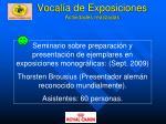 vocal a de exposiciones actividades realizadas