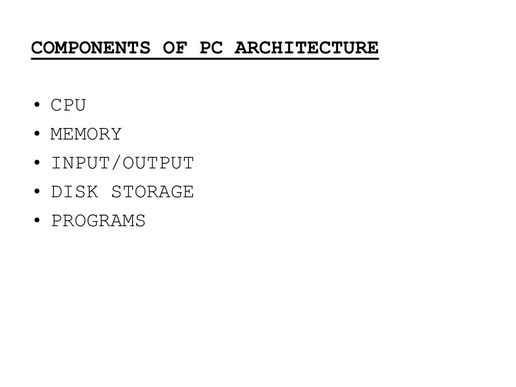 COMPONENTS OF PC ARCHITECTURE