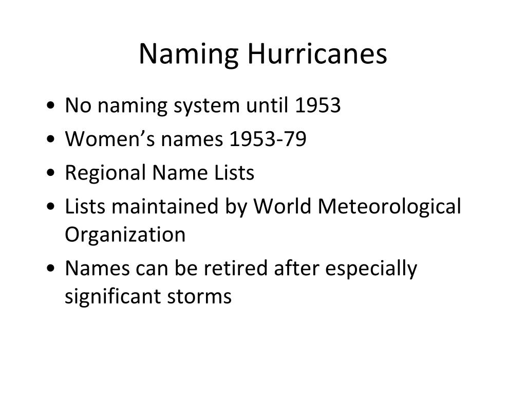 Naming Hurricanes