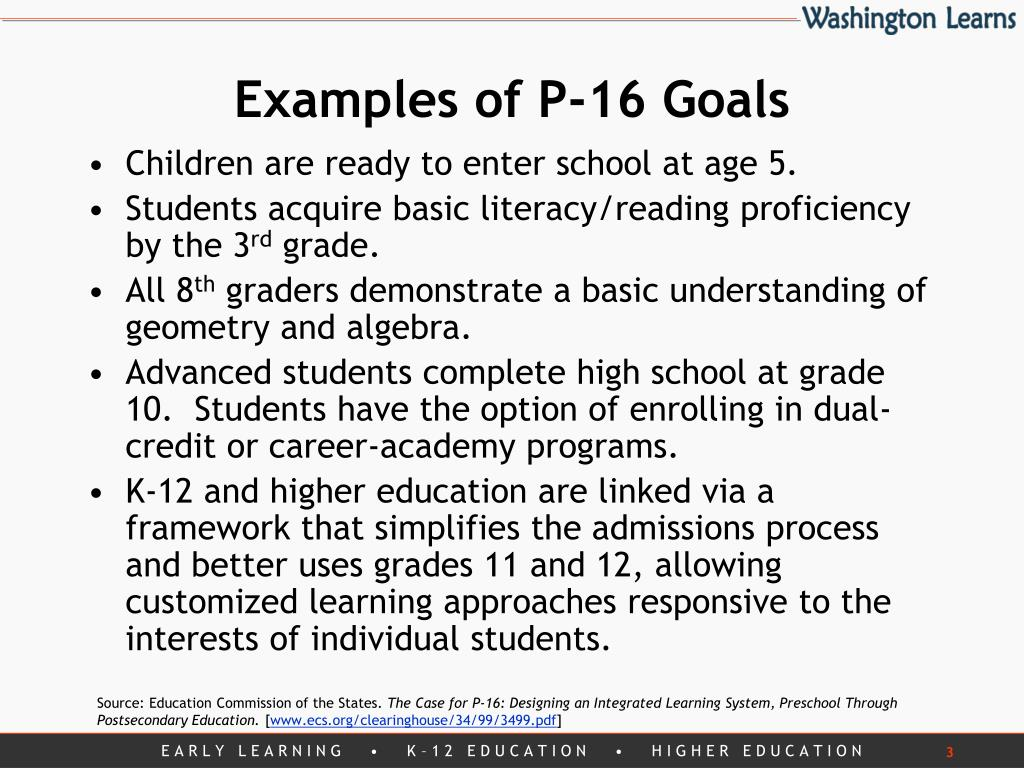 Examples of P-16 Goals
