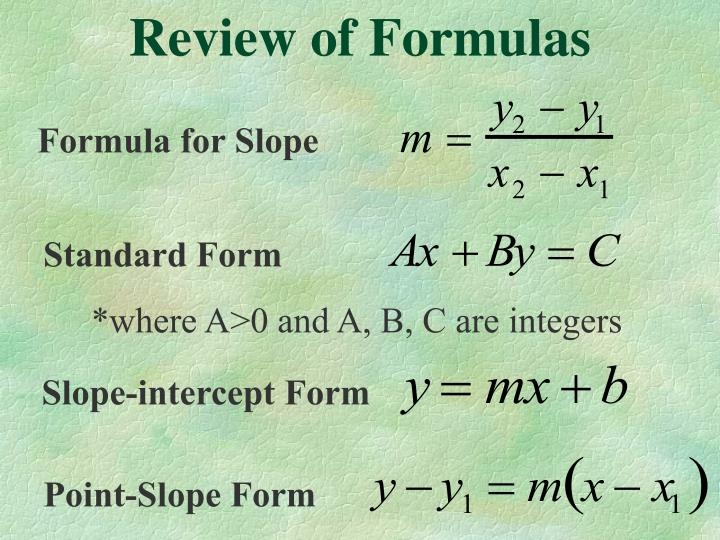 Review of formulas