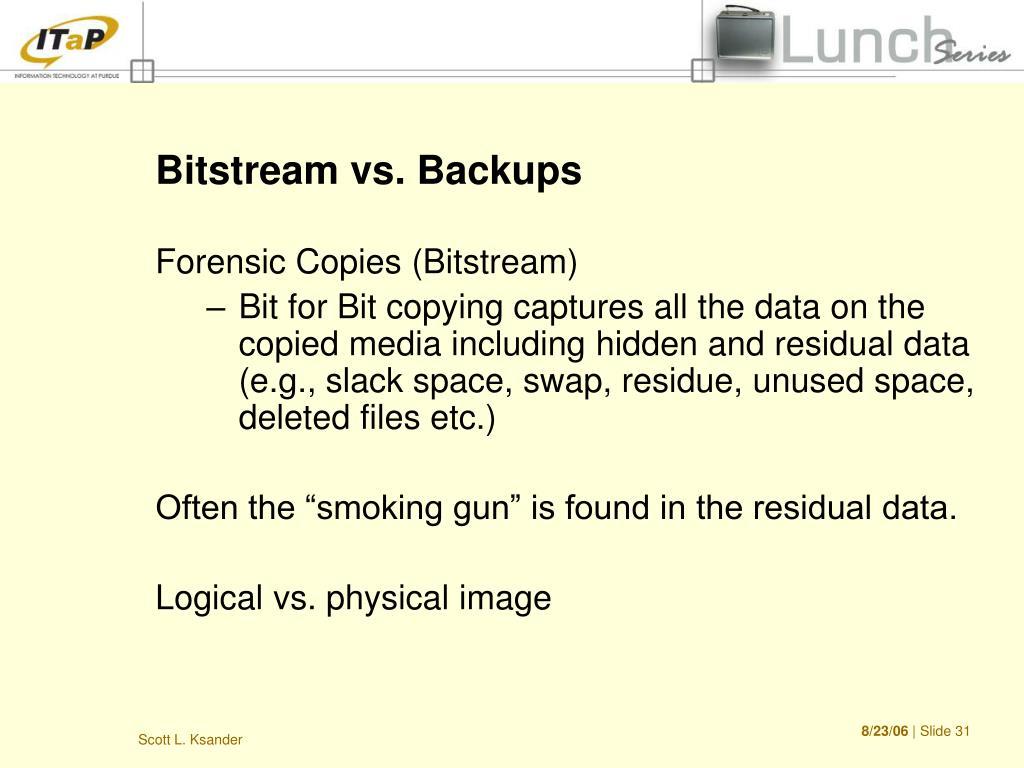 Bitstream vs. Backups