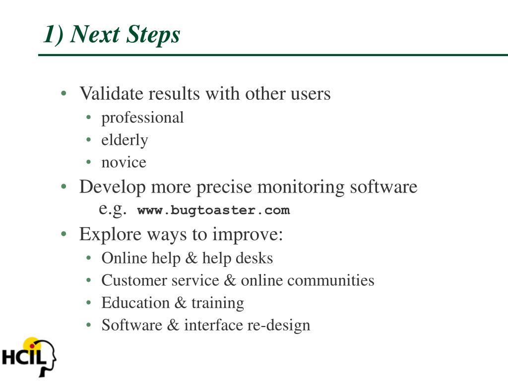 1) Next Steps