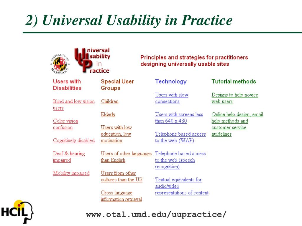 2) Universal Usability in Practice