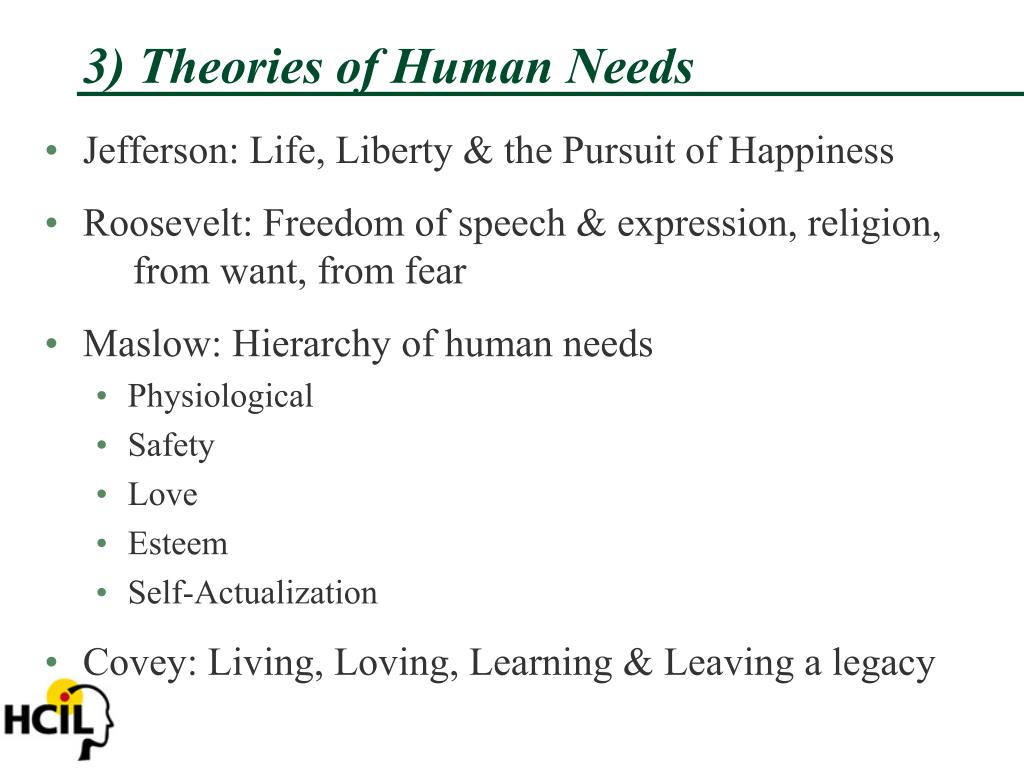 3) Theories of Human Needs