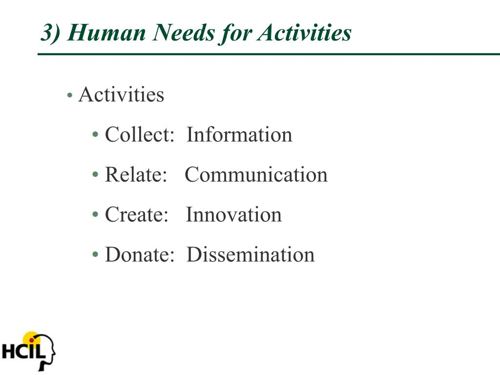 3) Human Needs for Activities