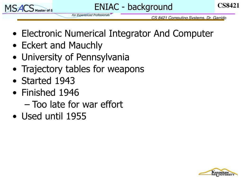 ENIAC - background