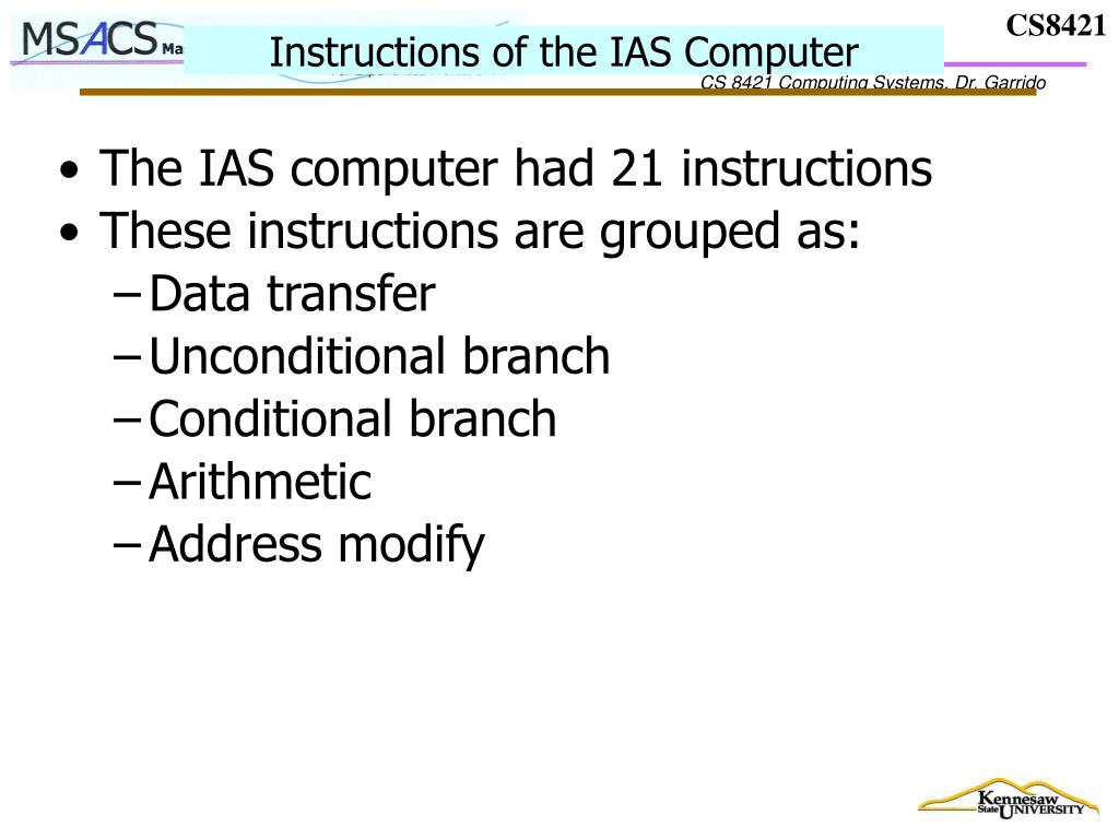 Instructions of the IAS Computer