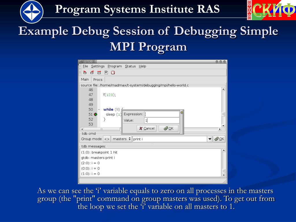 Example Debug Session of Debugging Simple MPI Program