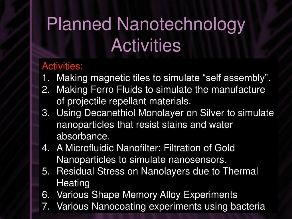Planned Nanotechnology Activities