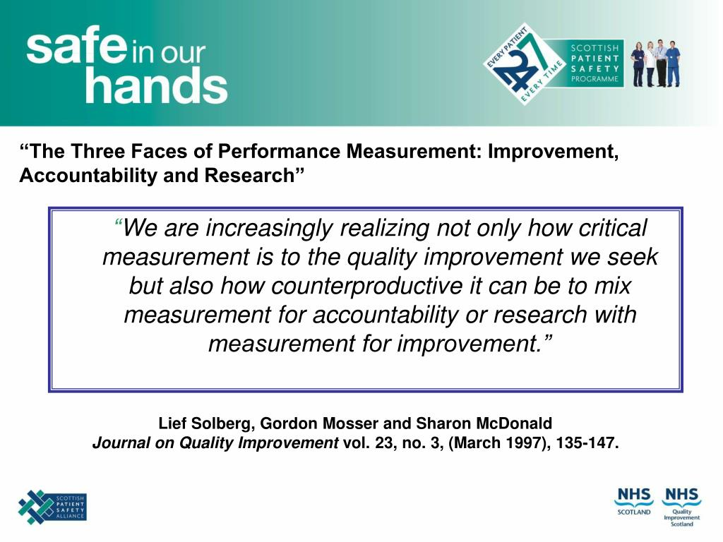 """The Three Faces of Performance Measurement: Improvement, Accountability and Research"""