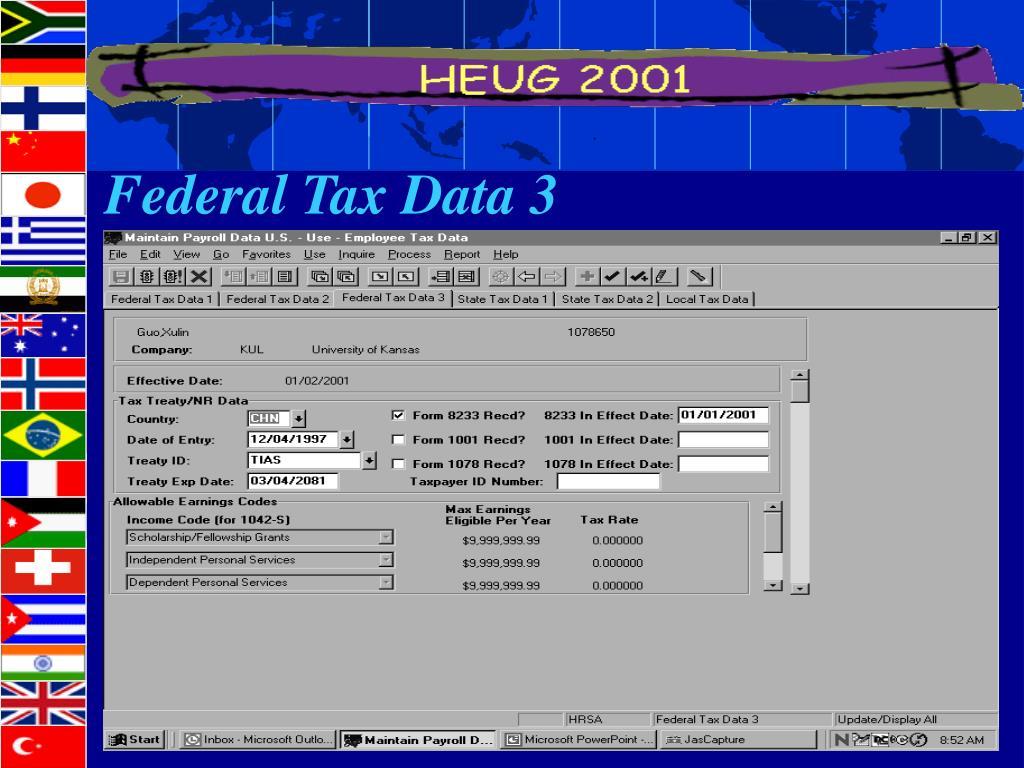 Federal Tax Data 3