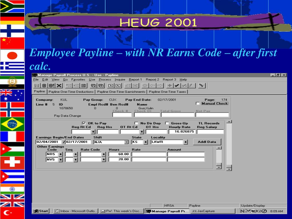 Employee Payline – with NR Earns Code – after first calc.