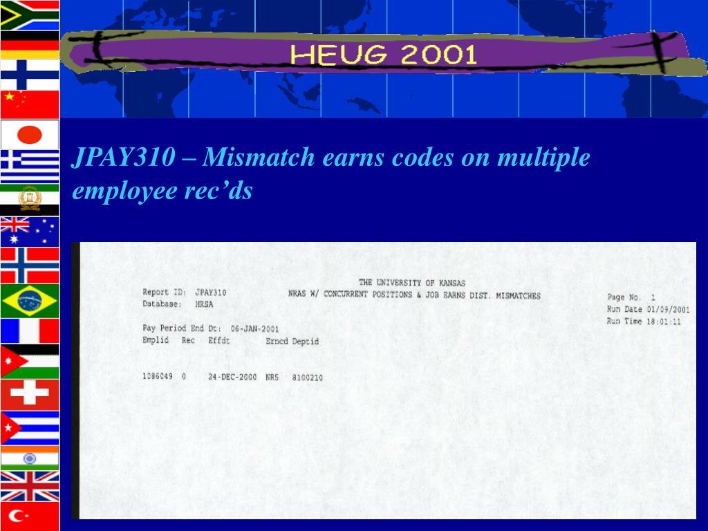 JPAY310 – Mismatch earns codes on multiple
