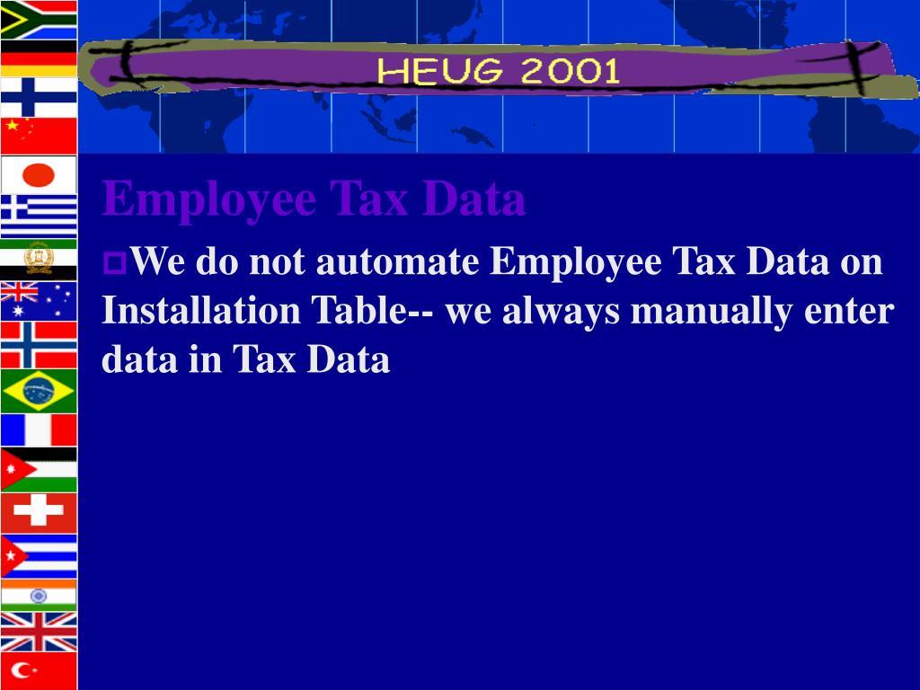 Employee Tax Data