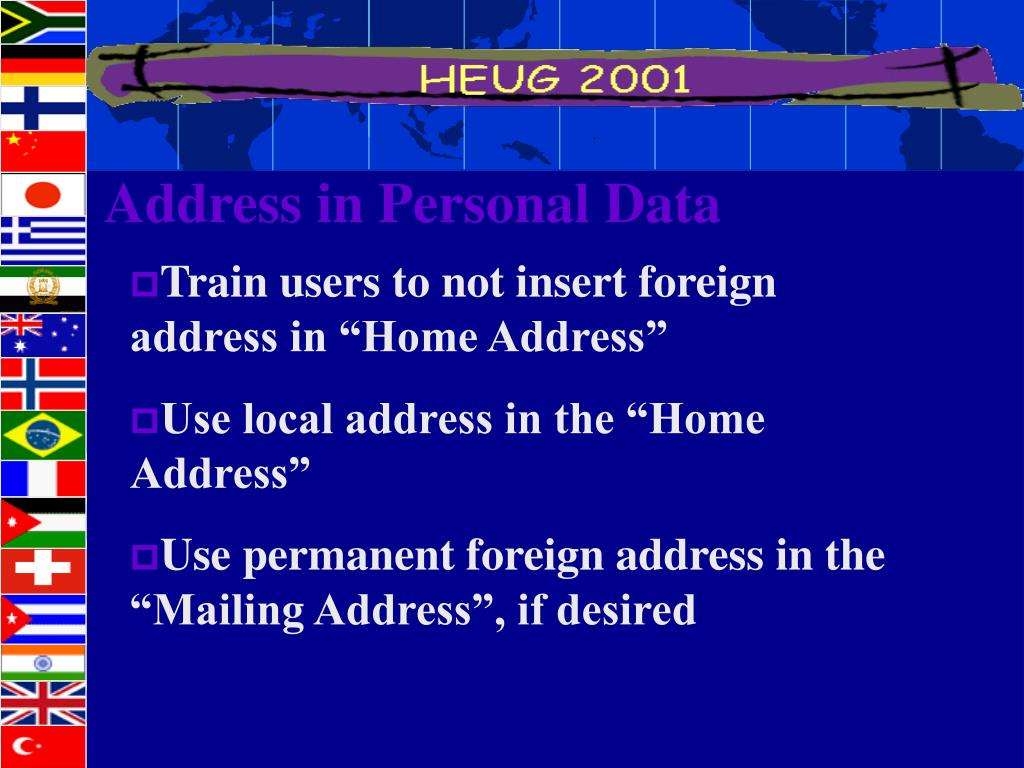 Address in Personal Data
