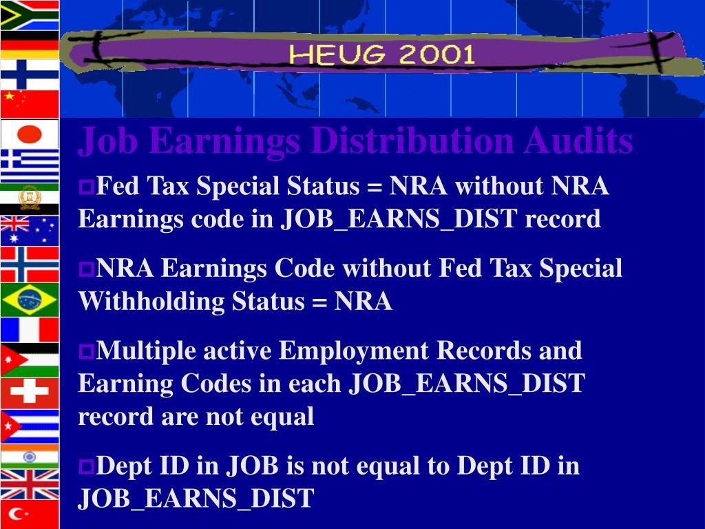 Job Earnings Distribution Audits