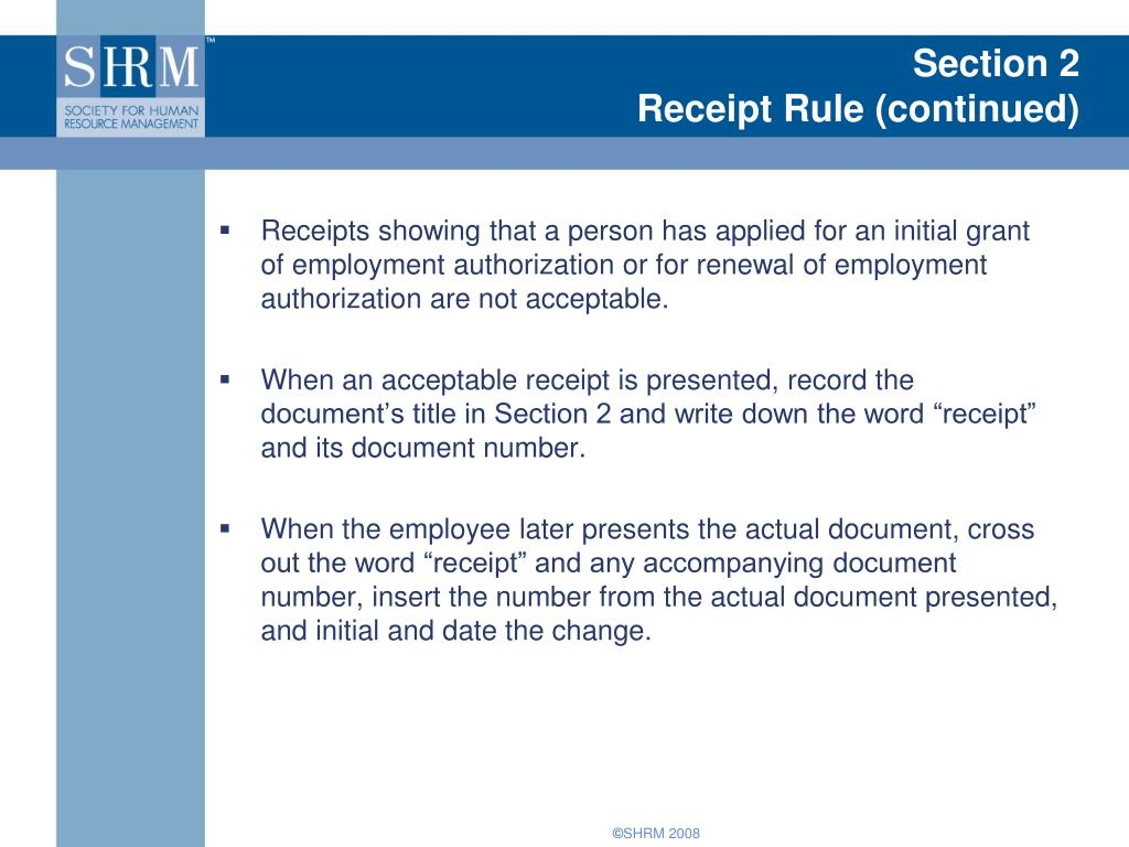 Section Receipt Rule Continued L