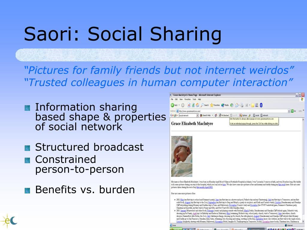 Saori: Social Sharing
