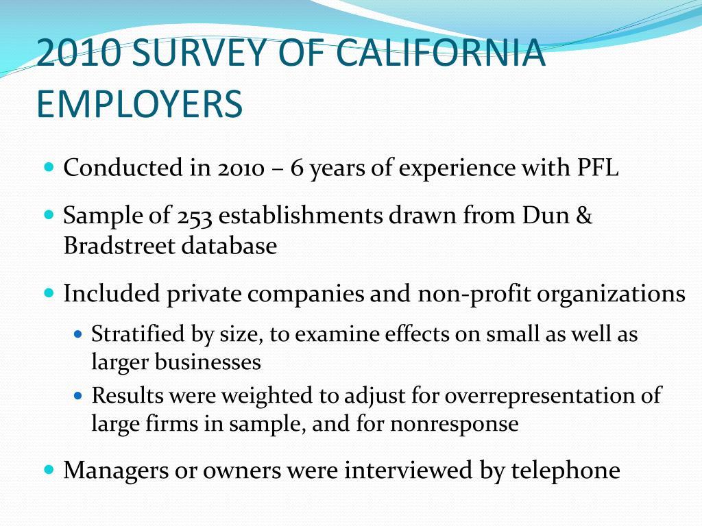 2010 SURVEY OF CALIFORNIA EMPLOYERS