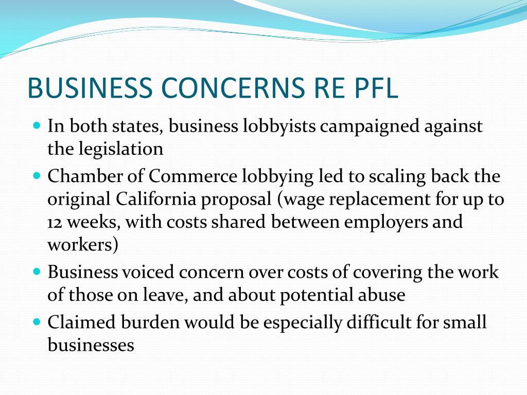 BUSINESS CONCERNS RE PFL