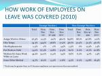 how work of employees on leave was covered 2010