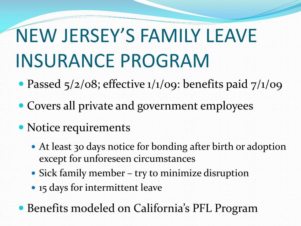 NEW JERSEY'S FAMILY LEAVE INSURANCE PROGRAM