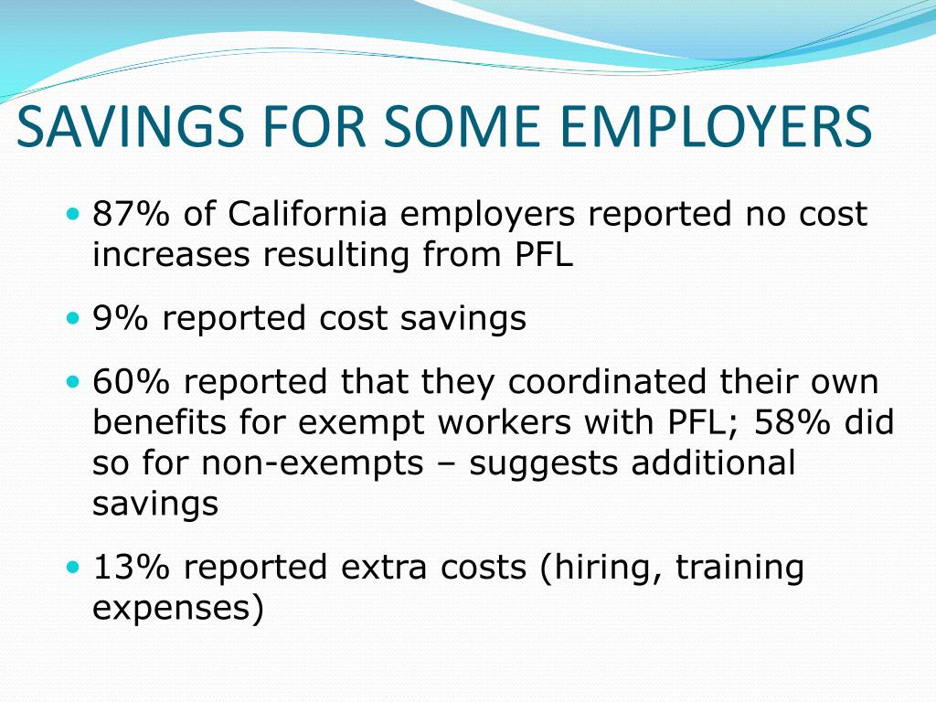 SAVINGS FOR SOME EMPLOYERS