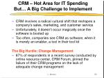 crm hot area for it spending but a big challenge to implement