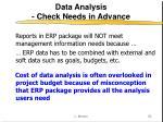 data analysis check needs in advance