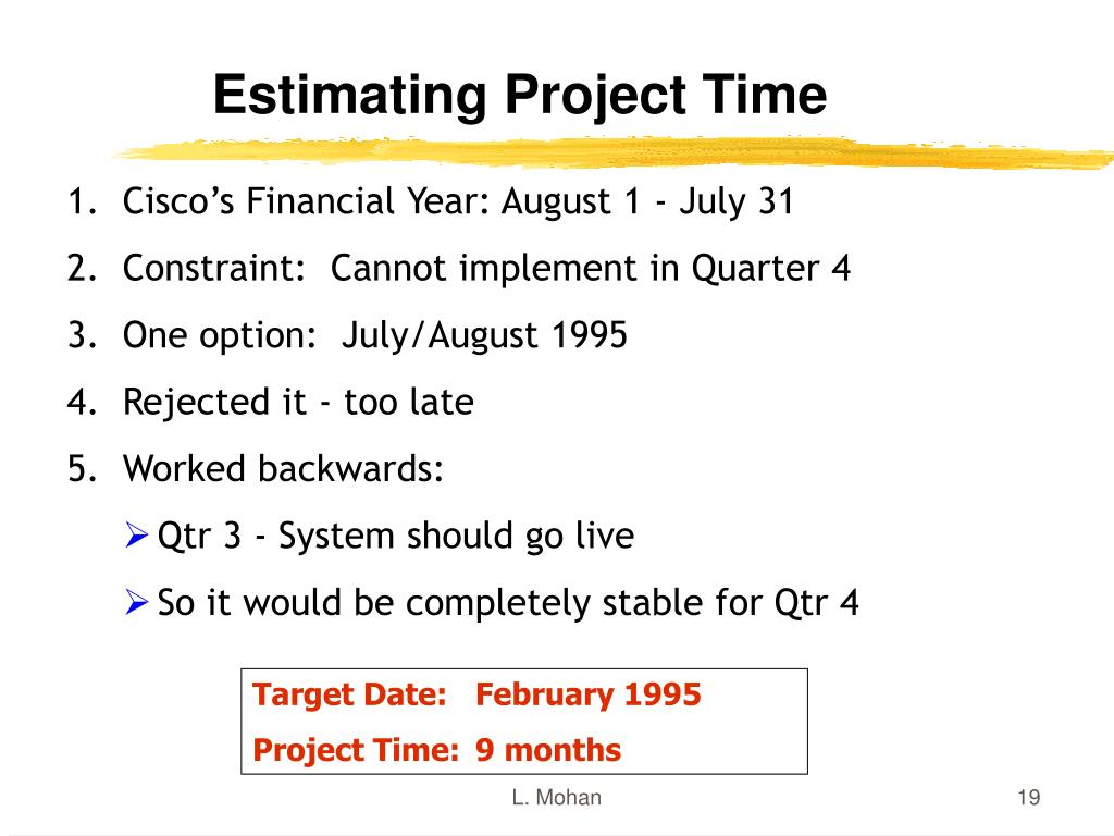 Estimating Project Time