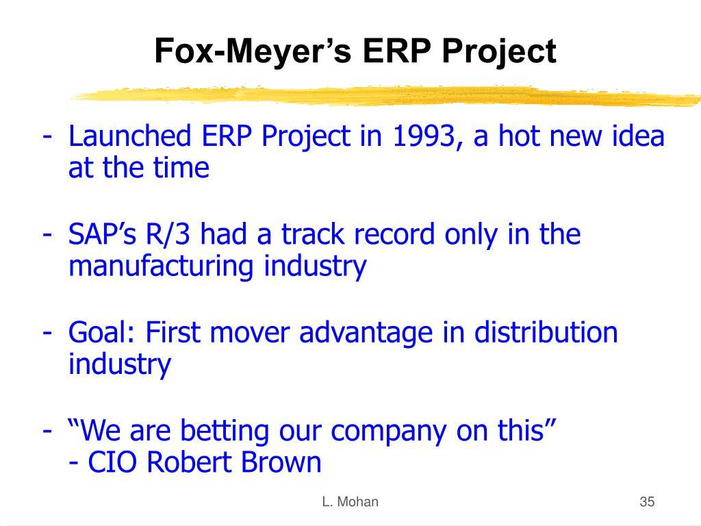 Fox-Meyer's ERP Project