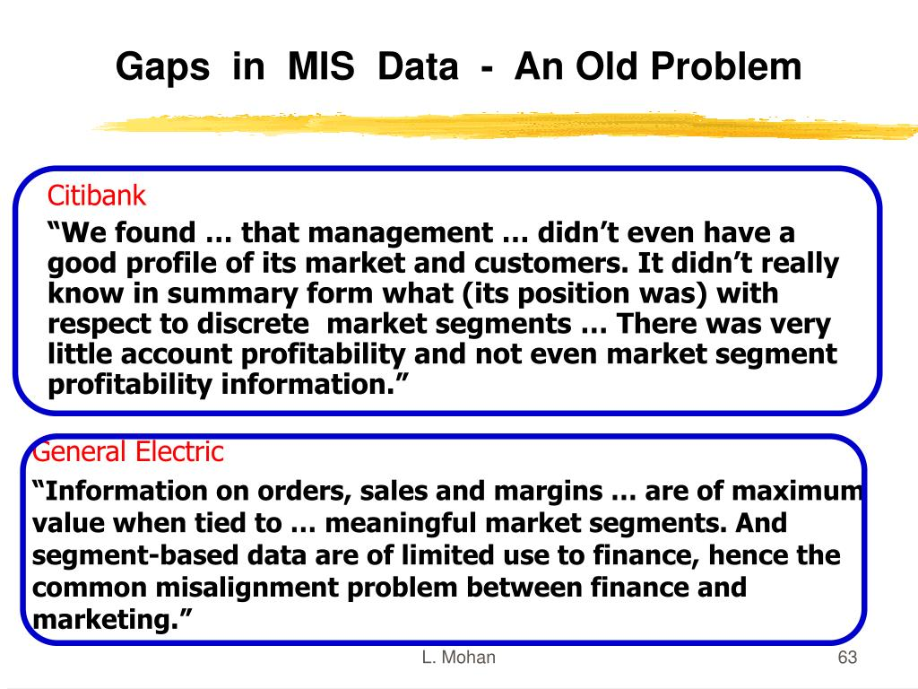 Gaps  in  MIS  Data  -  An Old Problem